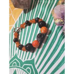 Handmade orange and black multi stone skull Bracelet